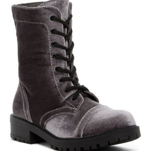 Madden Girl Rex Grey Velvet Boots